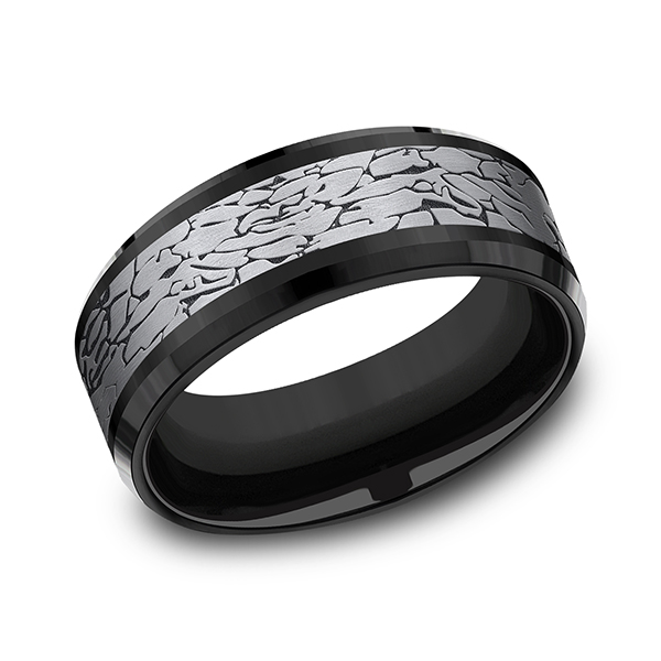 Tantalum and Black Titanium Comfort-fit Design Wedding Band