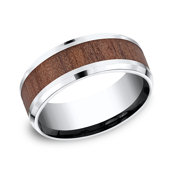 Cobalt and Rosewood Comfort-Fit Design Wedding Band