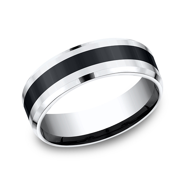Cobalt and Ceramic Comfort-Fit Design Wedding Band