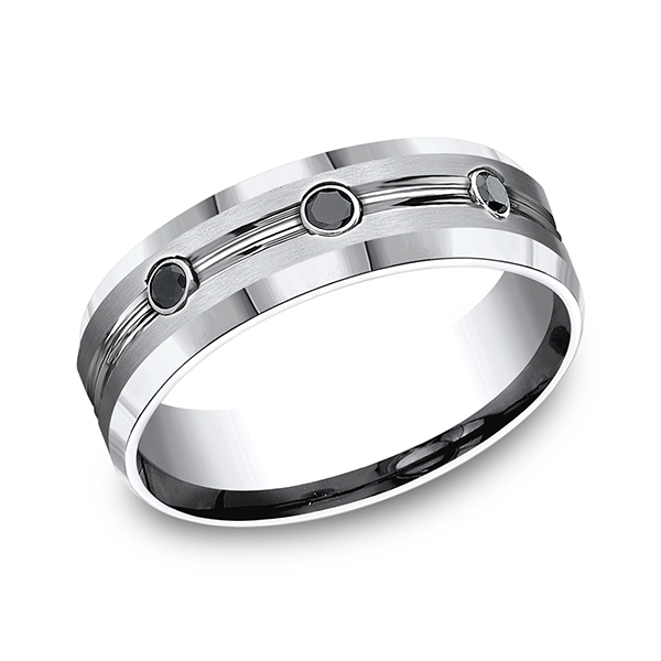 Cobalt Comfort-Fit Black Diamond Wedding Ring