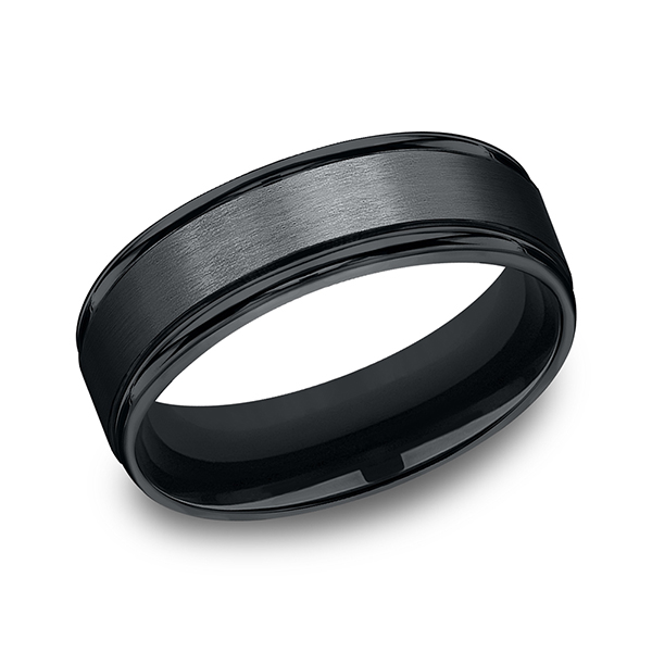 Black Cobalt Chrome Comfort-Fit Design Wedding Band