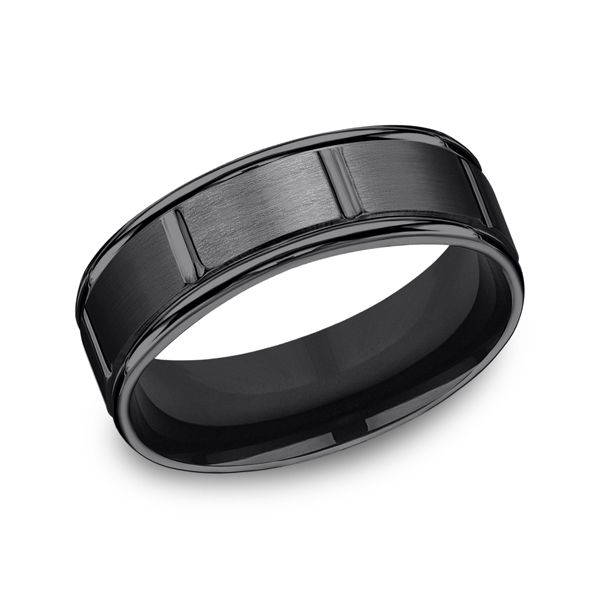 Black Titanium Comfort-Fit Design Wedding Band