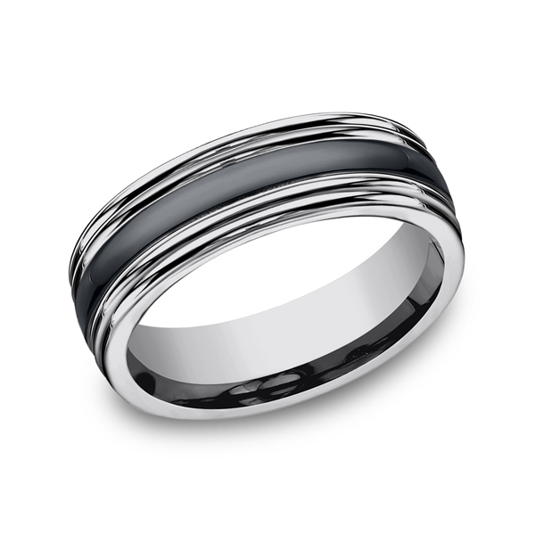 Tungsten and Seranite Two-Tone Design Wedding Band